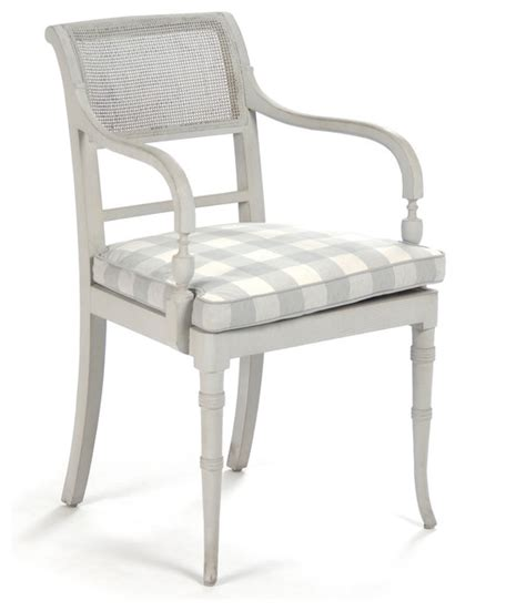 pissarro country antique white caned arm chair