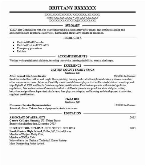 Resume Site by After School Site Coordinator Resume Sle Livecareer