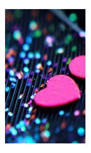 Two Pink Heart Shape In Glittering Stripe Background HD ...