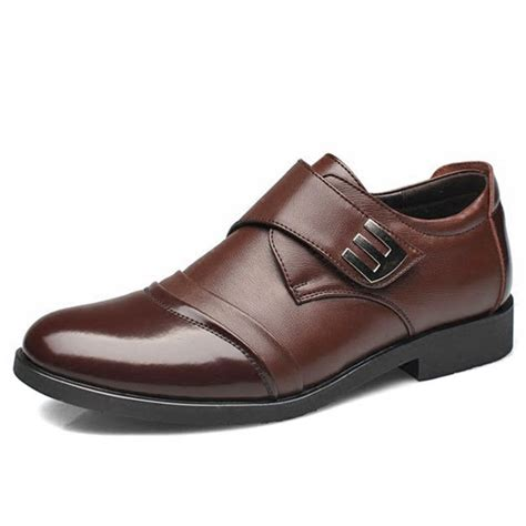 men classic color blocking hook loop business casual leather shoes  newchic