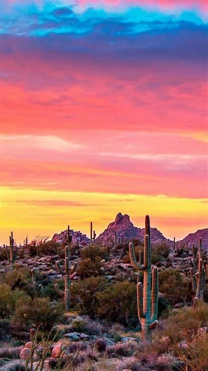 Arizona Desert Sunrise Az Scottsdale Vibrant Sunset