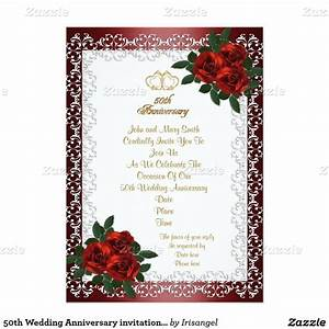 50th wedding anniversary invitation red roses 50th With cheap 40th wedding anniversary invitations