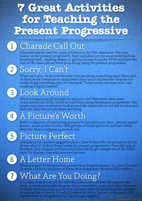 great activities  teach  present progressive poster