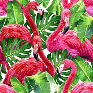 48256804-Pink-flamingo-monstera-leafs-palm-leaf-Seamless