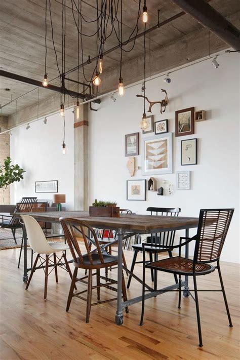 salon comedor de aire rustico  industrial en chicago