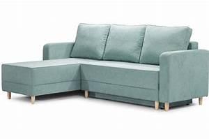 Canapé D Angle Vert : canap d 39 angle convertible tissu vert slice design sur sofactory ~ Teatrodelosmanantiales.com Idées de Décoration