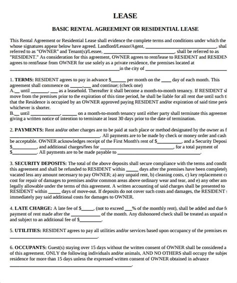 sample property lease agreement template  documents