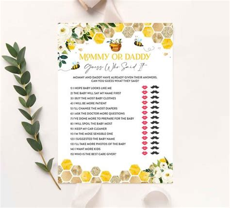honey bee mommy  daddy guess  baby shower game honey