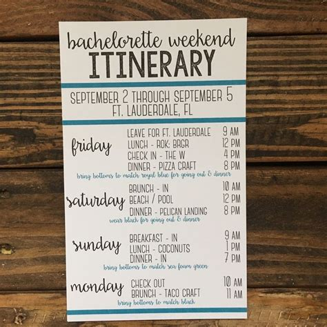 bachelorette itinerary template free i that this is so versatile it can be used as a bachelorette weekend itinerary or even for