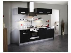 Meuble De Cuisine Blanc Laqué : meuble de cuisine noir laque ~ Teatrodelosmanantiales.com Idées de Décoration