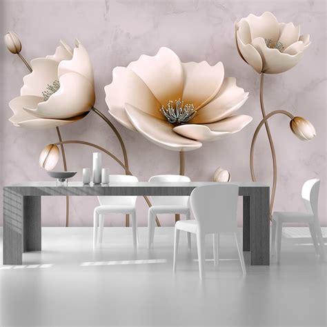 Фотообої Білі квіти на мармуровому фоні купити на стіну ...