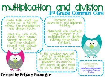 Common Core Multiplication And Division Task Cards (3rd Grade)  Task Cards, Multiplication And
