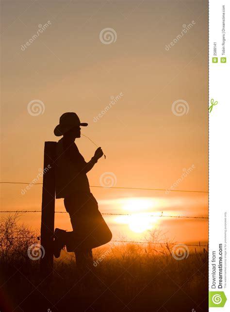 cowboy watching sunset stock image image  sunset