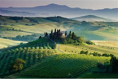 Europe Landscape Italy Farm Field Hill Sunlight