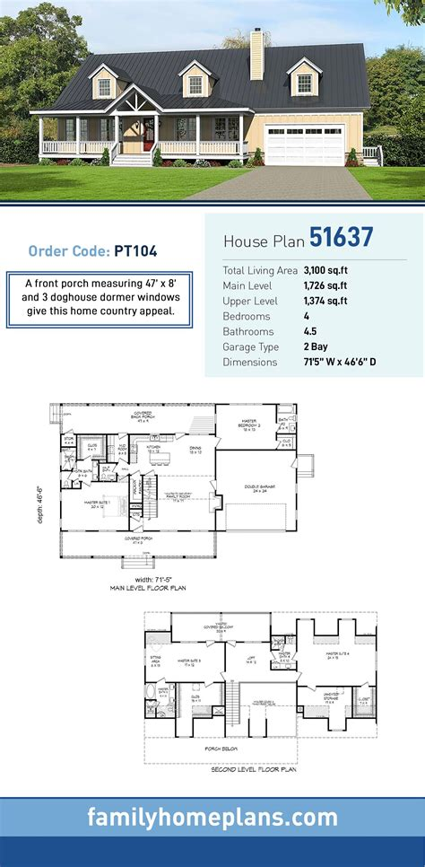 Southern Style House Plan 51637 with 4 Bed 5 Bath 2 Car