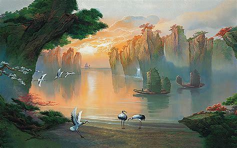 secret lagoon asian wall mural pr