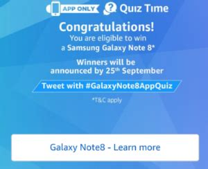 answers added app quiz time answer 8 questions and get chance to win samsung galaxy
