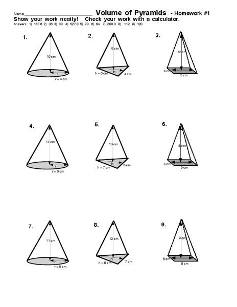 volume of pyramids worksheet for 7th 9th grade lesson planet