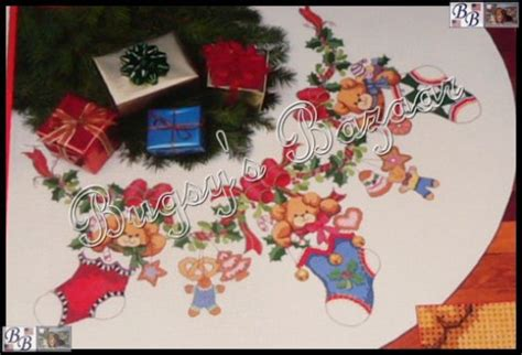 dimensions merry bears christmas tree skirt counted cross