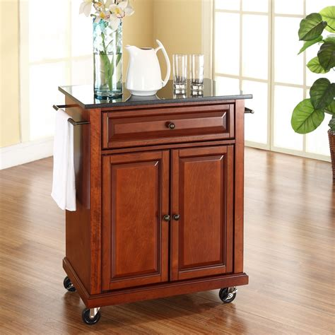 cherry portable kitchen island cart  granite top