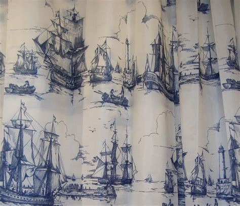 ikea aggersund boats fabric shower curtain blue white