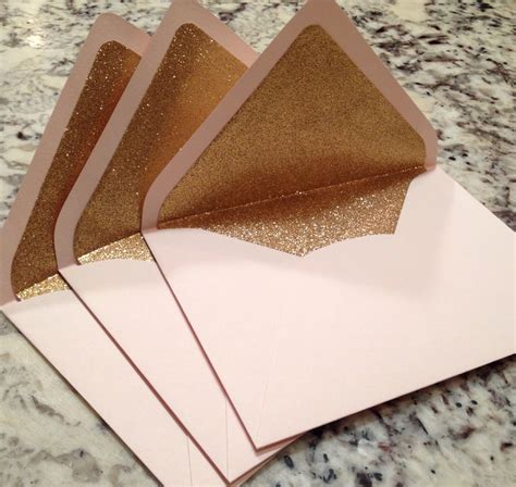 a 7 envelope luxe blush a7 5x7 gold glitter lined envelopes pale pink