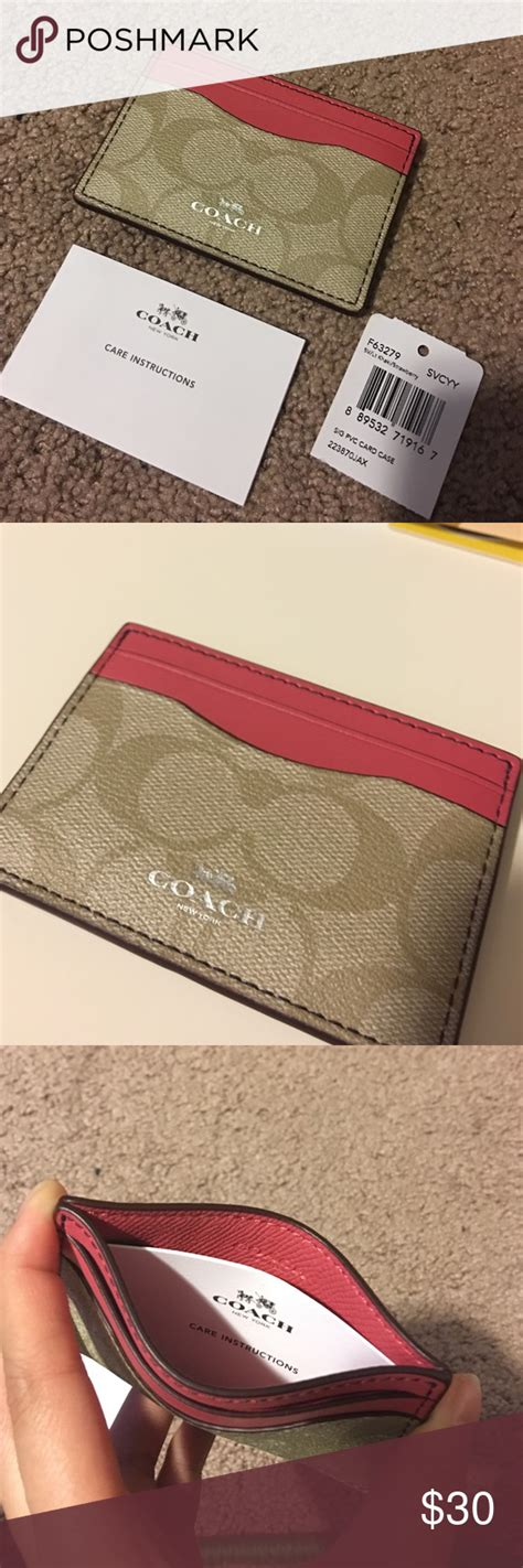 coach coralpink leather cardholder nwt  images