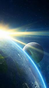 Outer space galaxies planets earth wallpaper