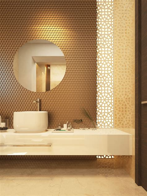 Modern Bathroom Wall Tile by Dimensional Wall Tile With Vertical Laser Cut Screen