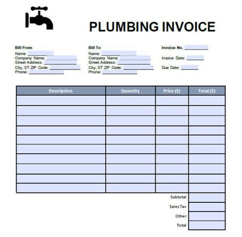 plumbing invoices  word  format