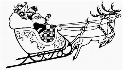 Reindeer Sleigh Coloring Christmas Santa Pages Printable