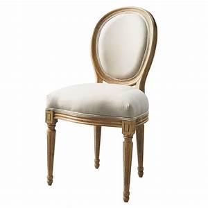Chaise Jardin Maison Du Monde : chaise m daillon en coton et ch ne massif crue louis ~ Premium-room.com Idées de Décoration