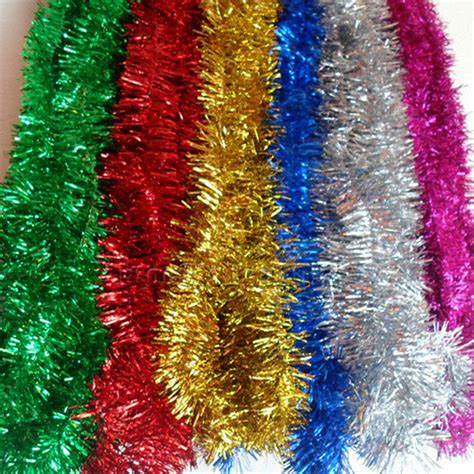 christmas xmas tinsel tree decoration garland 6 colours 2m