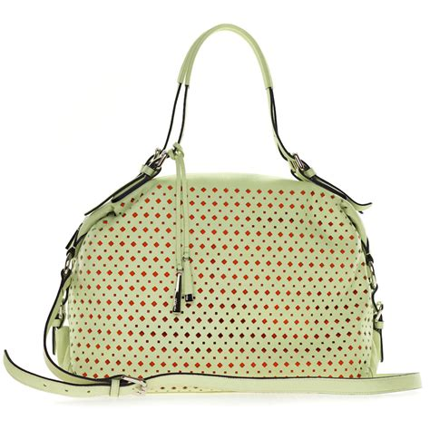cromia italian  pistachio green perforated leather