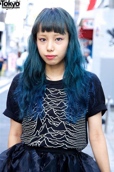 Harajuku Girl W Blue Hair Nadia Organza Skirt And Creepers