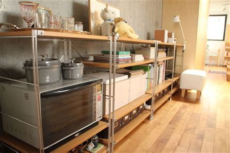 kitchen cabinet pic ダイニングキッチンは 無印良品のユニットシェルフでオープン収納スタイルに 部屋 2673