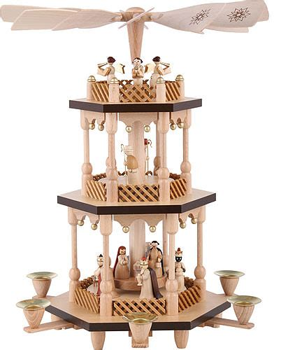 tier pyramid nativity scene natural wood  cmin