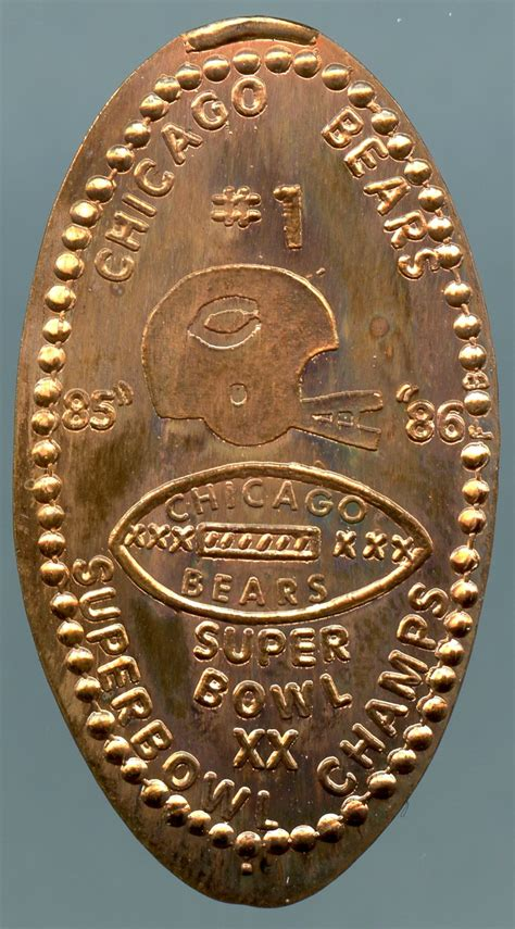 Elongated Cent Chicago Bears Super Bowl Xx 85 86
