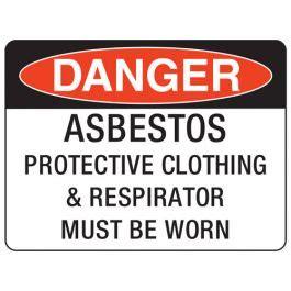 danger asbestos protective clothing respirator