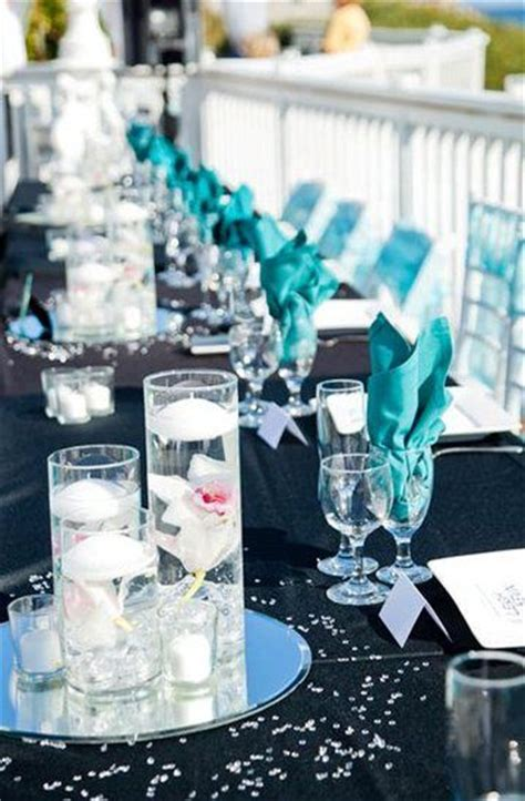 black and turquoise wedding we could do white tables