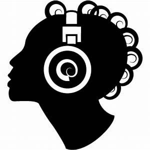 Woman Silhouette With Headphones Vector | Free Download