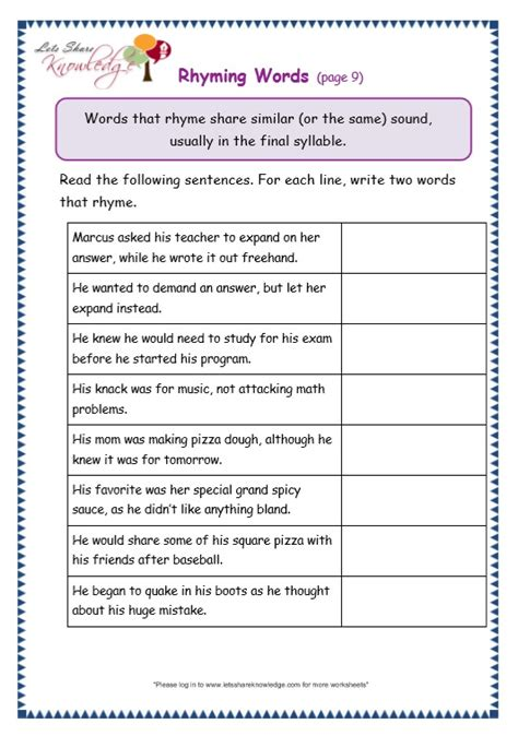 rhyming words worksheets for grade 2 rhyming worksheets