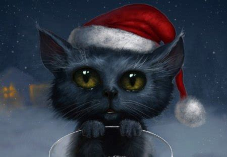 christmas cat   cg abstract background wallpapers