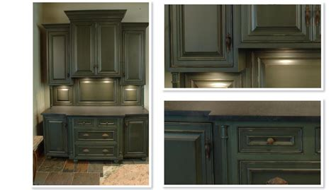 Green Kitchen Cabinet Doors by Antiqued Green Cabinets Home