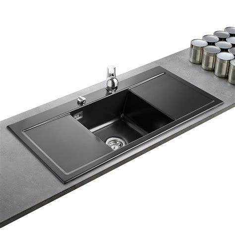 meuble cuisine sous evier evier cleya en livraison céramique noir mat de qualité