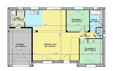 chambre avec salle de bain ouverte et dressing plan et photos maison 2 chambres de 76 m