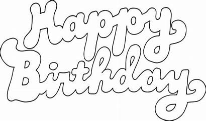 Birthday Happy Text Coloring Pages Printable Clipart