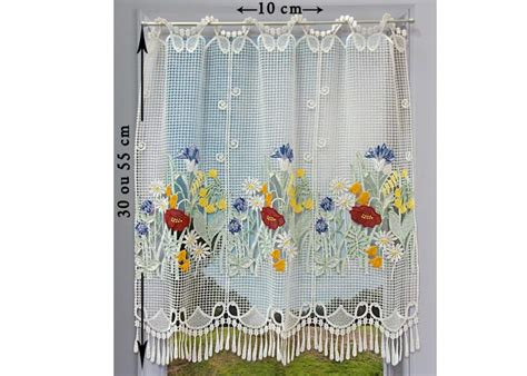 macrame rideau cuisine petit rideau cantonnière macramé motif fleuri petit rideau prêt à poser petit rideau à la coupe