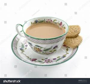 Cup Tea Milk Biscuit Pattened China Stock Photo 28183513 ...