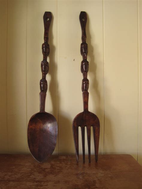 Wooden Fork And Spoon Wall Decor Large by The Big Kitschy Fork And Spoon Vintage Wall Decor